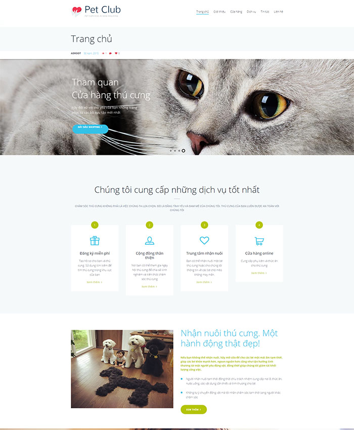 Mẫu web thú cưng chuẩn SEO 01