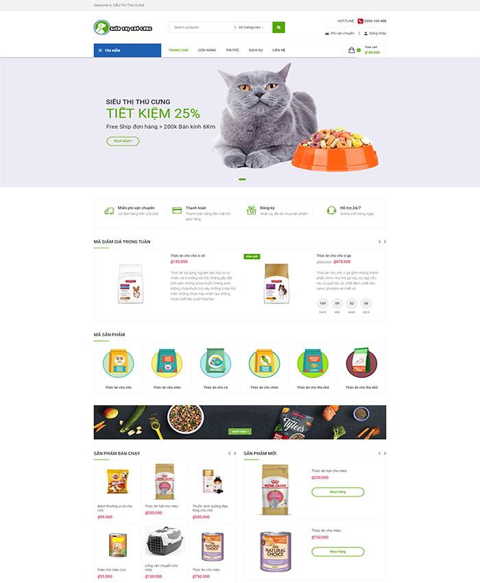 Thiết kế website thú cưng chuyên nghiệp 01