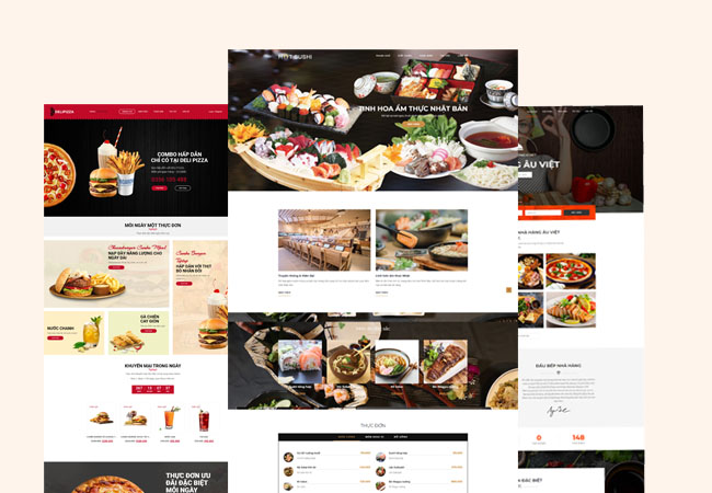 Thiết kế website nhà hàng, khách sạn đẹp 01