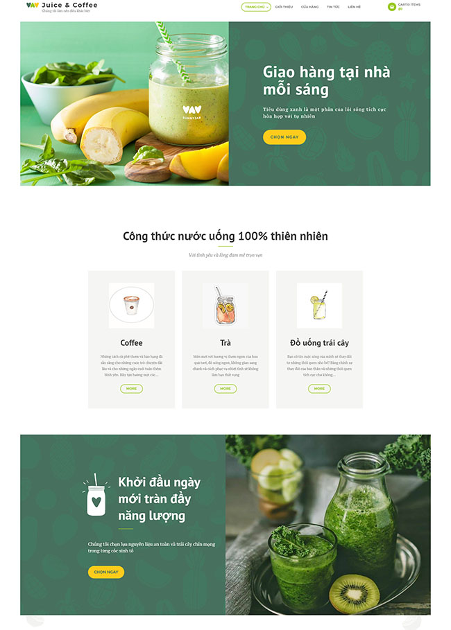 Danh mục sản phẩm trong thiết kế website quán cà phê