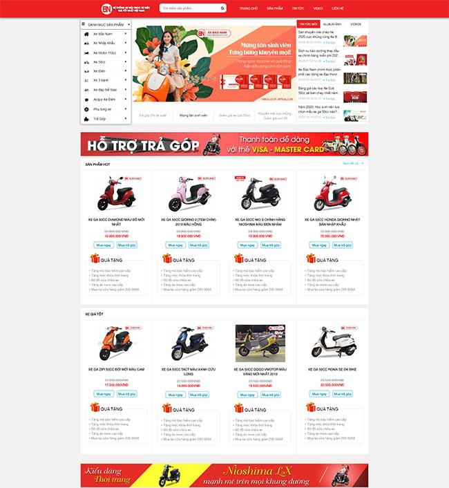 Các chức năng trong mẫu thiết kế website bán hàng
