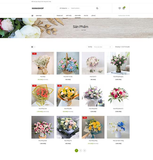 Chức năng sản phẩm trong thiết kế website bán hoa tươi