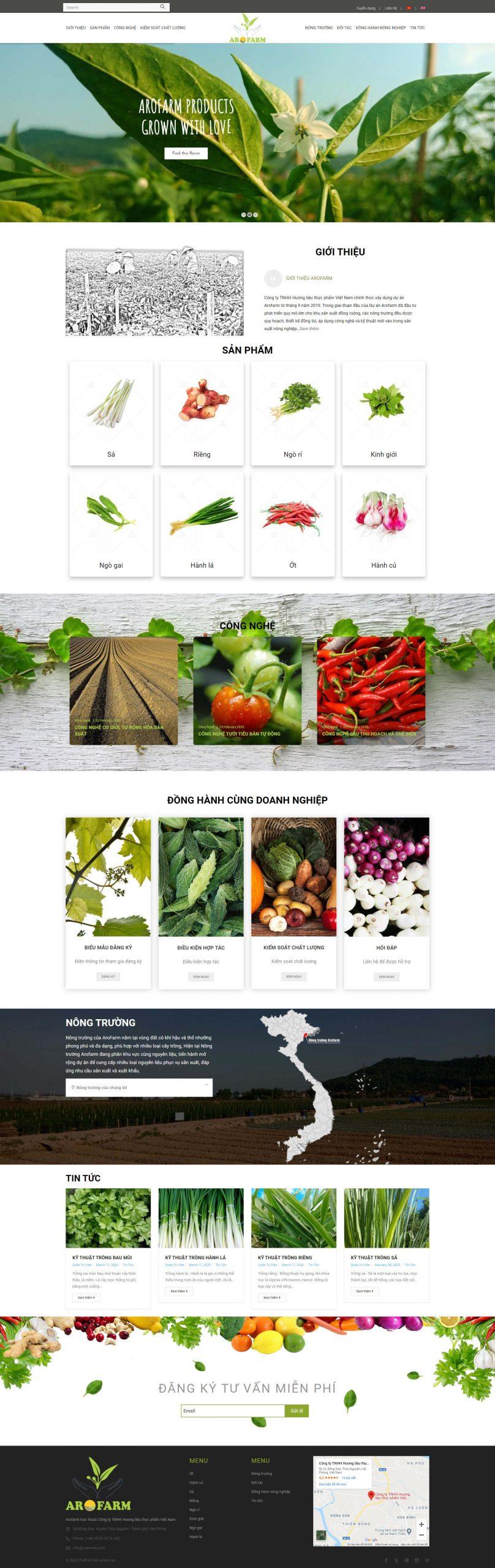 Giao diện thiết kế web Arofarm