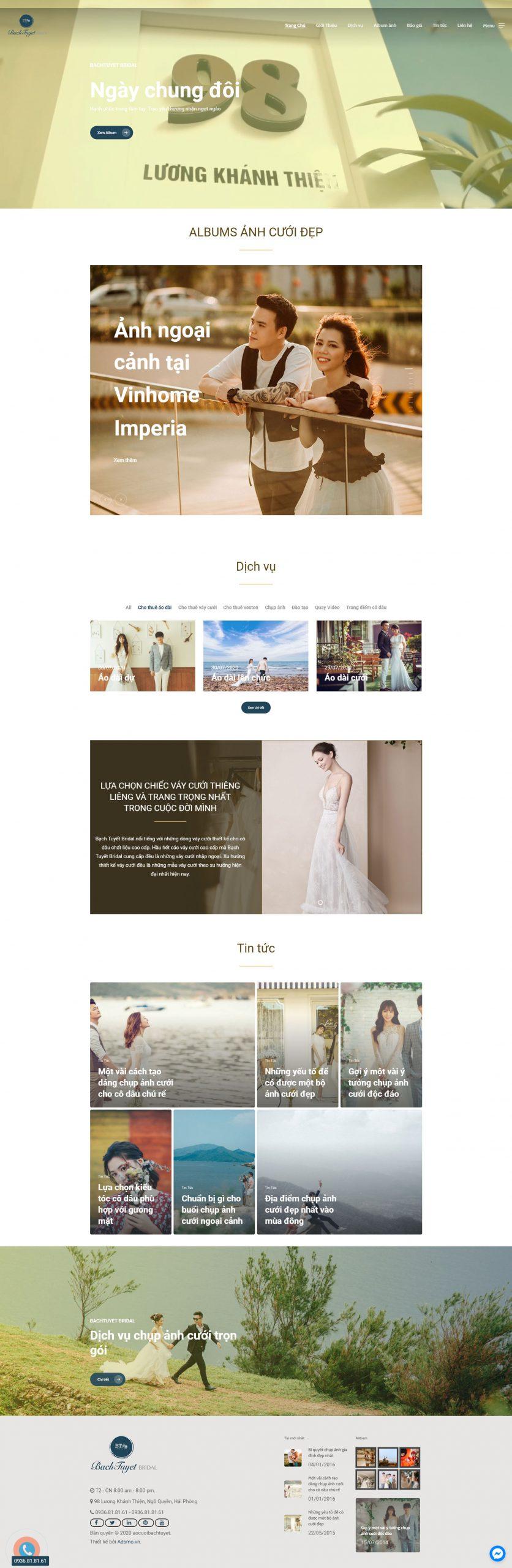 Giao diện thiết kế website áo cưới bạch tuyết