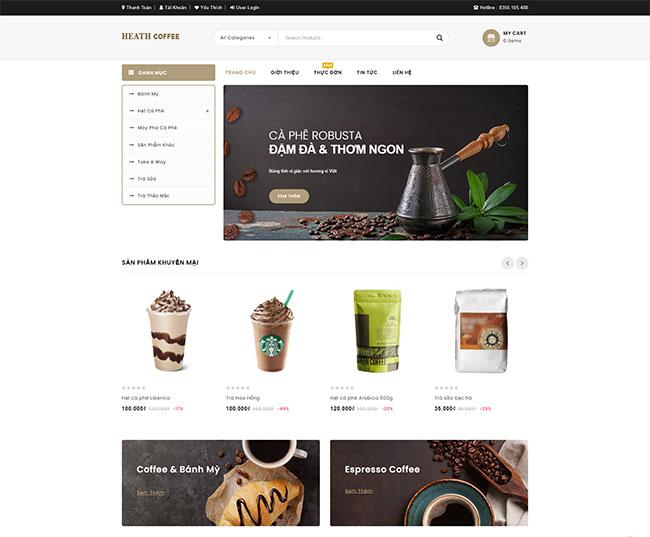 Thiết kế website quán cà phê giao diện đẹp, ấn tượng