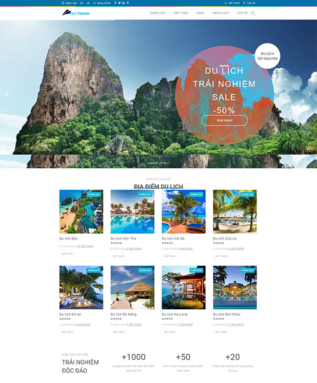 Mẫu website du lịch Fly Travel