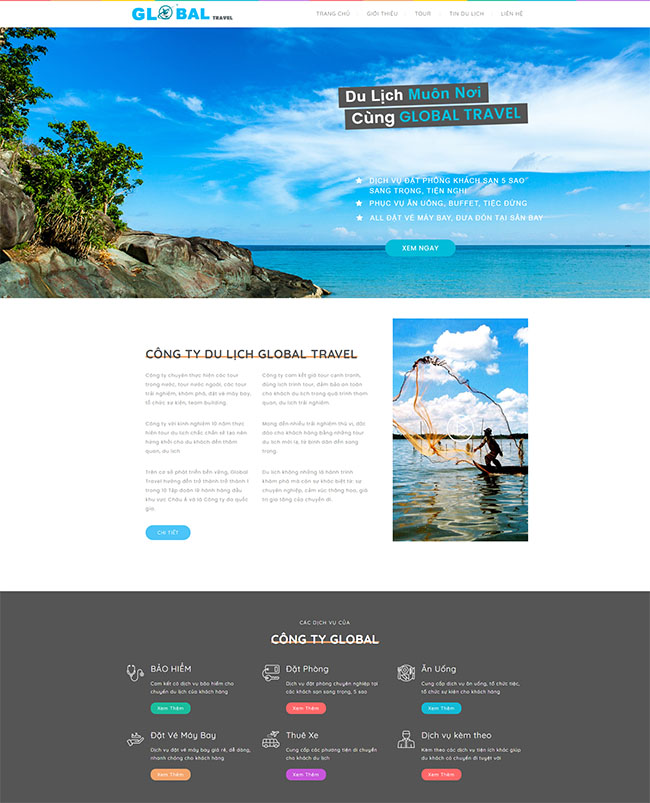 Mẫu website du lịch Global Travel