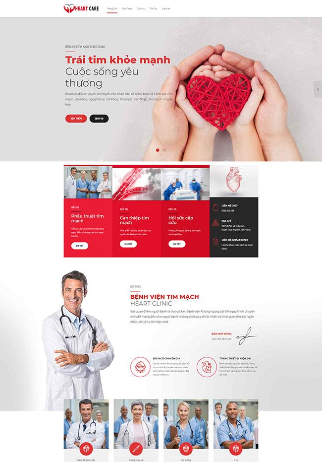 Mẫu thiết kế website bệnh viện tim mạch