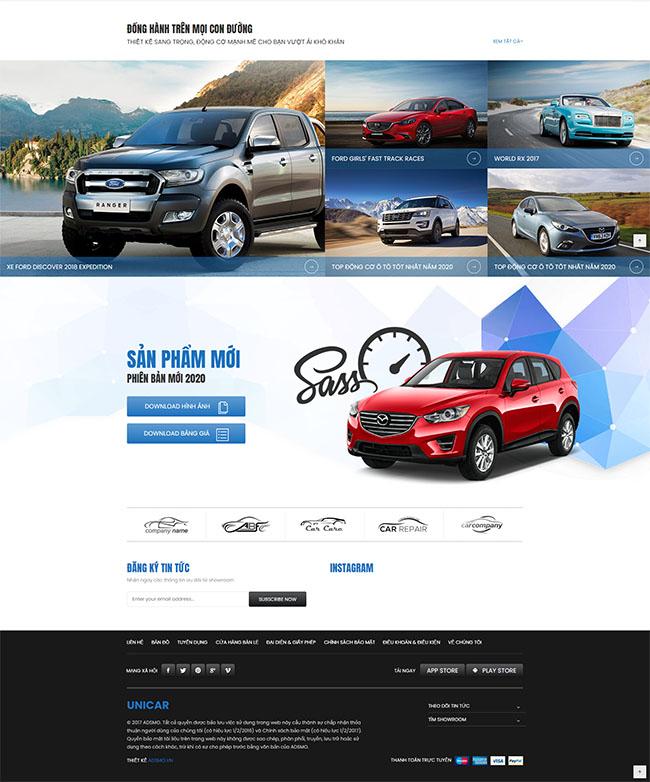 Nội dung trang tin tức thiết kế website bán ô tô