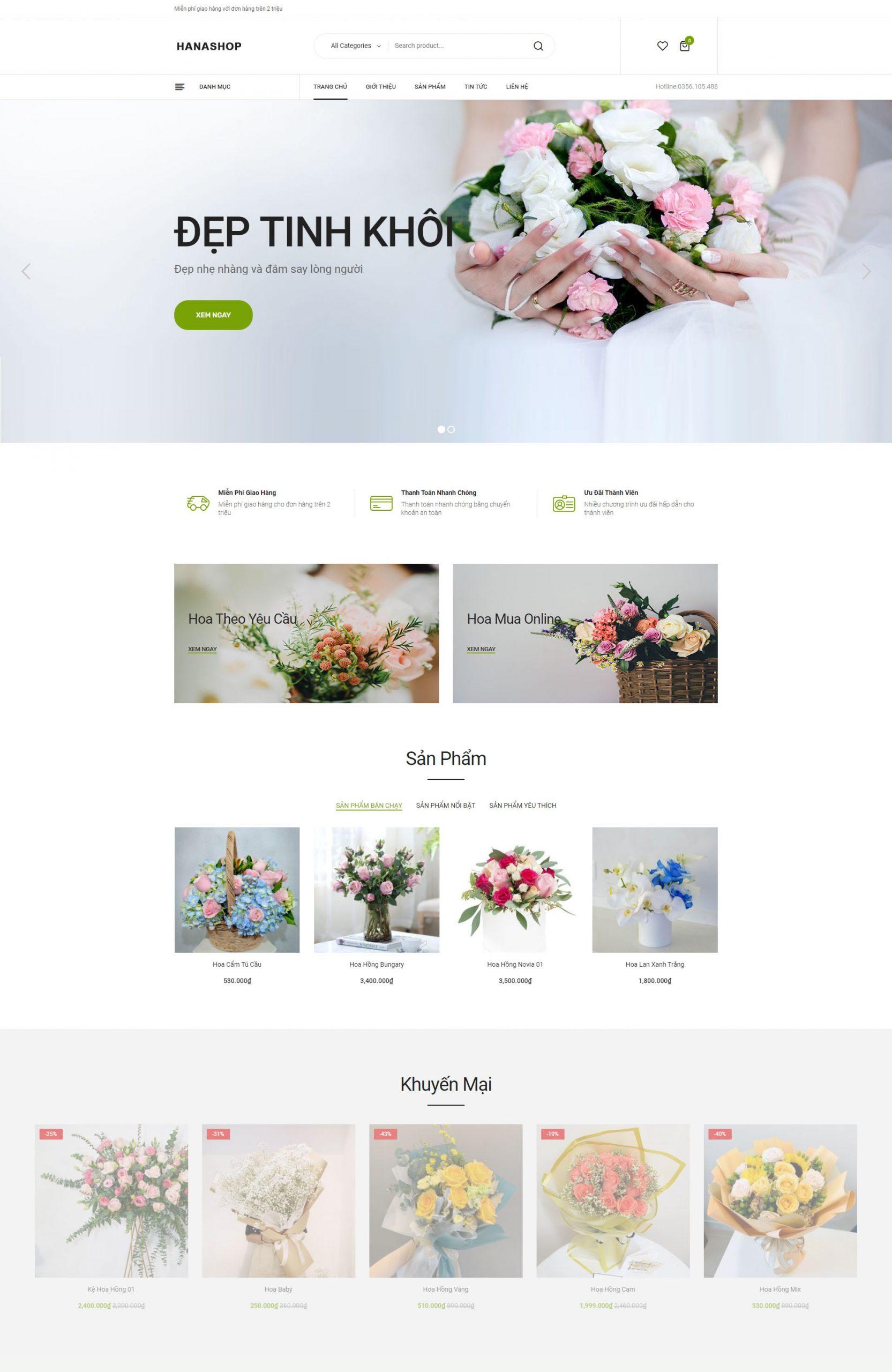 Giải pháp thiết kế website bán hoa