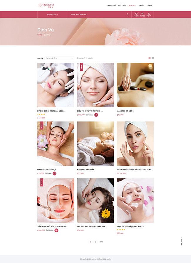 hình ảnh màu sắc tinh tế trong thiết kế web spa