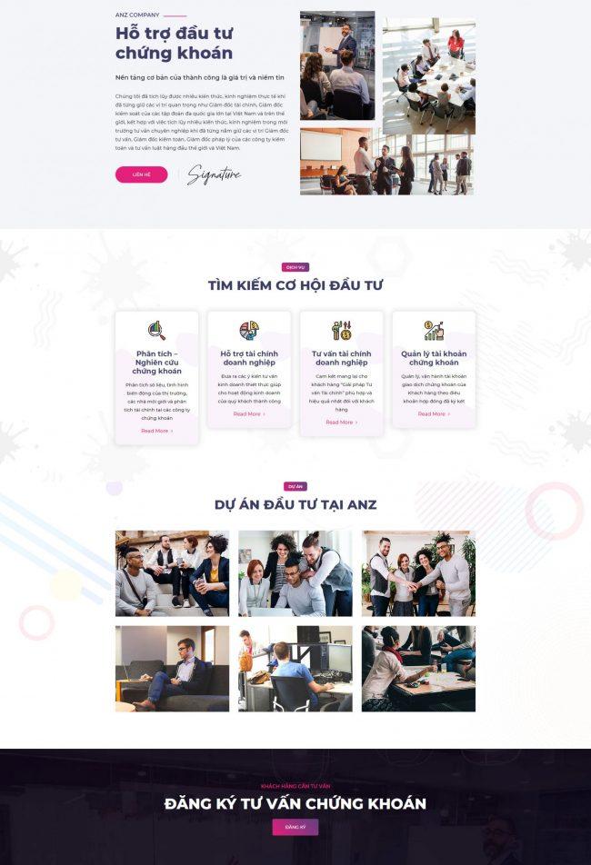 Mẫu thiết kế website chứng khoán