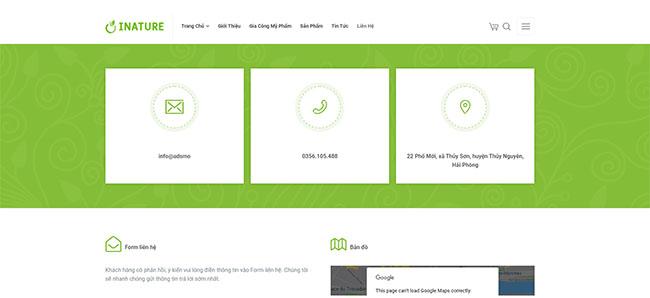 Thông tin liên lạc trong thiết kế website dược