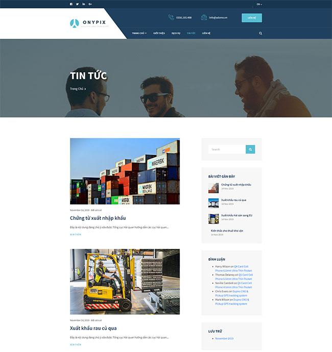 Trang tin tức trong thiết kế website kho bãi