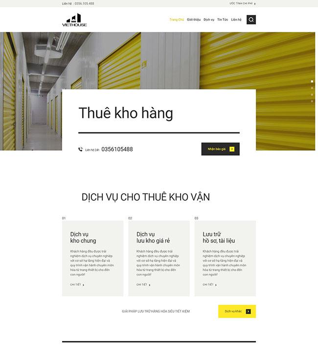 Giao diện trang chủ thiết kế website kho bãi