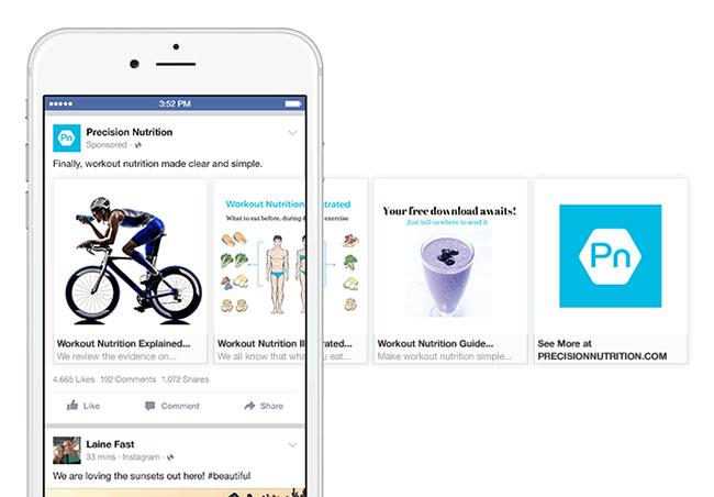Hình thức chạy carousel ads chia sẻ bài viết website