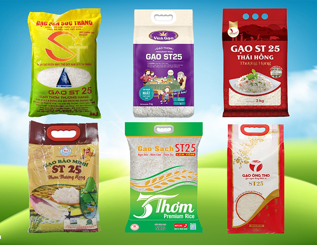 Các mẫu bao bì gạo ST 25 trên thị trường
